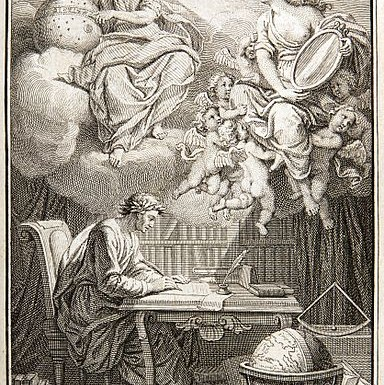 https://en.wikipedia.org/wiki/File:Voltaire_Philosophy_of_Newton_frontispiece.jpg Public domain. Wikimedia Commons ©