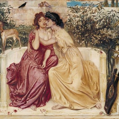 https://en.wikipedia.org/wiki/File:Sappho_and_Erinna_in_a_Garden_at_Mytilene.jpg Public domain. Wikimedia Commons ©