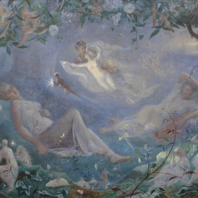 https://en.wikipedia.org/wiki/File:Scene_from_'A_Midsummer_Night's_Dream'_by_John_Simmons,_1873,_watercolor.jpg Public domain. Wikimedia Commons ©